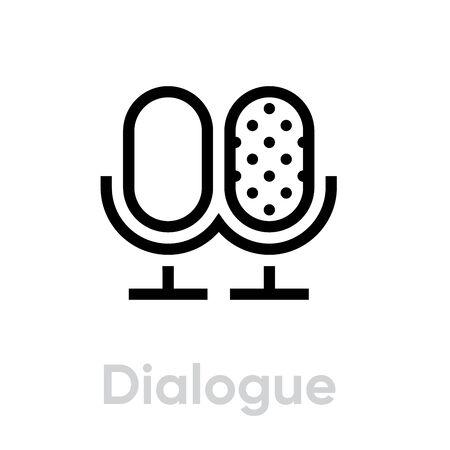 Dialogue icon. Editable Vector Outline.