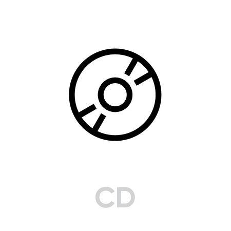 CD icon. Editable Vector Outline.  イラスト・ベクター素材