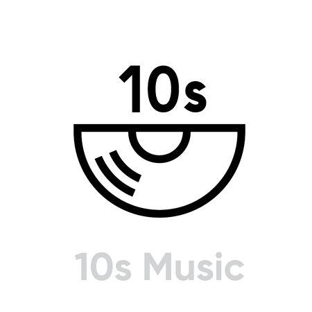 10s Music Vinyl icon. Editable line vector. 写真素材 - 143432204