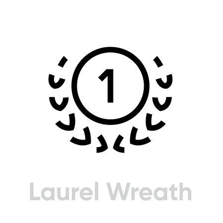 Laurel Wreath Cup icon. Editable line vector. 向量圖像