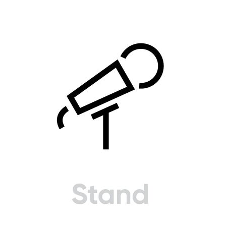 Stand microphone icon. Editable line vector. 写真素材 - 143438157