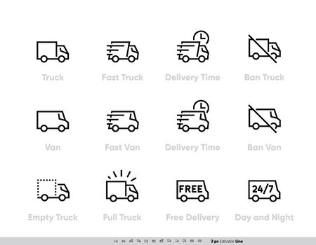 Delivery Truck icons set. Fast Truck, Minibus, Van, Delivery in Time, Ban, 24-7 Free Delivery. Vector Editable Line Foto de archivo - 143742276