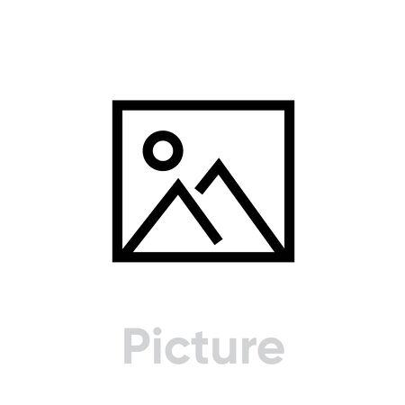 Picture icon. Editable Vector Stroke. Stock Illustratie