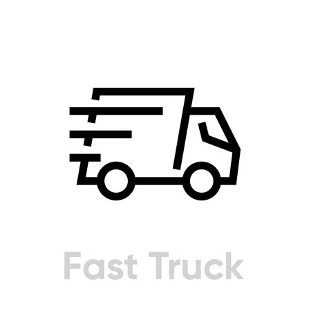 Fast Delivery Truck vector icon. Shipping truck rides fast with stripes of speed. Editable line Vettoriali