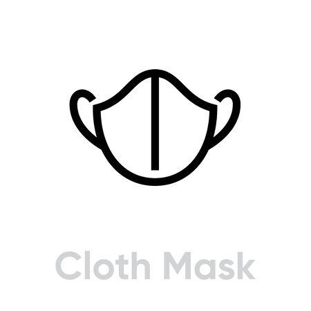 Cloth Mask icon. Editable line vector.