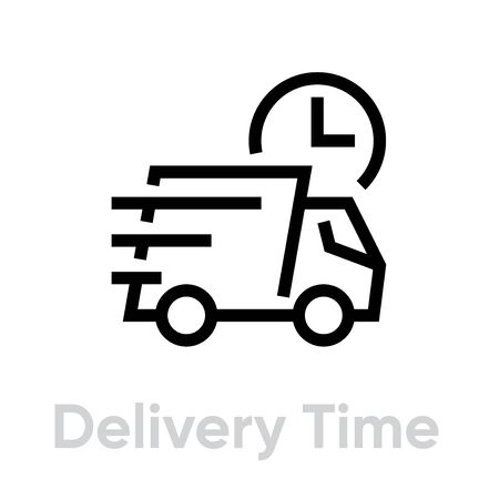 Delivery Time Truck icon. Editable line vector.