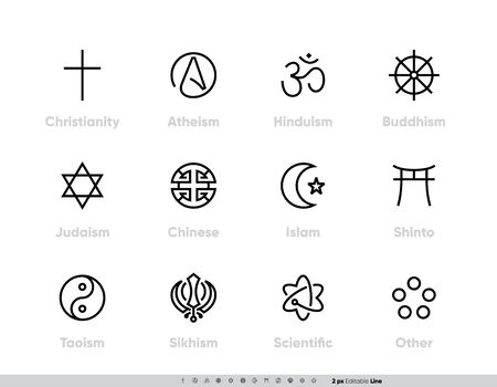 Religious Tradition Symbols set. Christianity, Atheism, Hinduism, Buddhism, Judaism, Chinese, Islam, Shinto, Taoism, Sikhism, Scientific and other. Editable Line Stroke. One Style Vector