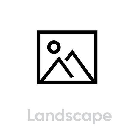 Landscape flat icon. Editable Vector Outline. Stock Illustratie
