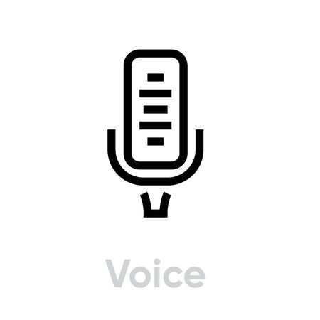 Voice Microphone icon. Editable Vector Outline.
