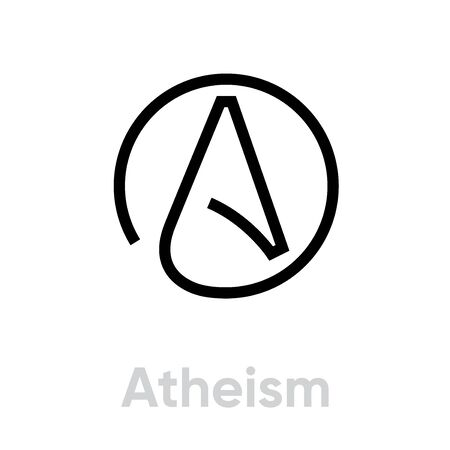 Atheism Religion icon. Editable line vector.