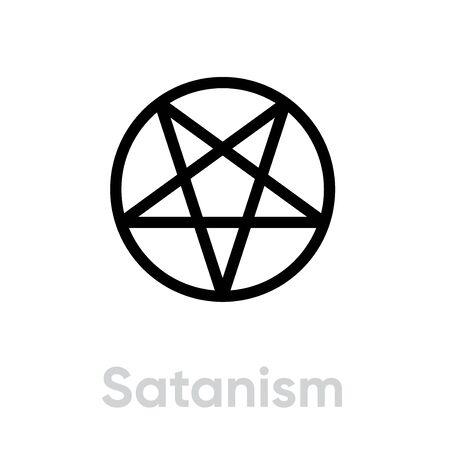 Satanism Religion icon. Editable line vector. Çizim