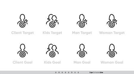 Icon Set of Client Target Focus Groups, Women, Men, Children and other Persons. Silhouette with a target and an arrow for Business presentations and website. Editable line stroke pictogram Vectores