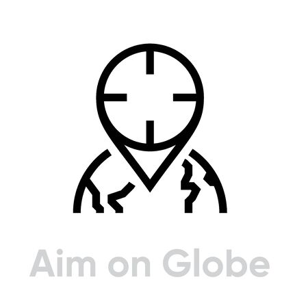 Aim on Globe Target icon. Editable line vector. Stylized dot element location in the shape of a gun sight. Single pictogram.