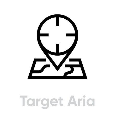 Target Area icon. Editable line vector.