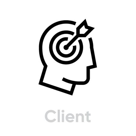 Client Target icon. Editable line vector. Sign a man's head with a round aim and an arrow inside. Single pictogram. 일러스트