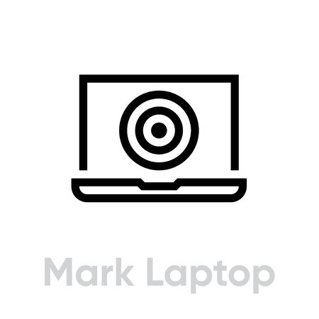 Mark Laptop Target icon. Editable line vector. Display element of a modern gadget with a round purpose on the screen. Single pictogram.