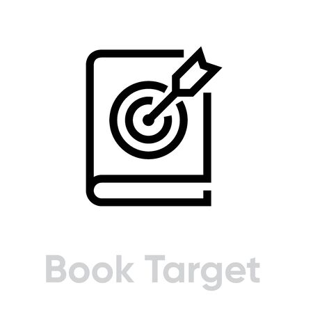 Book Target icon. Editable line vector.