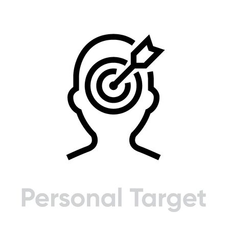 Personal Target icon. Editable line vector.