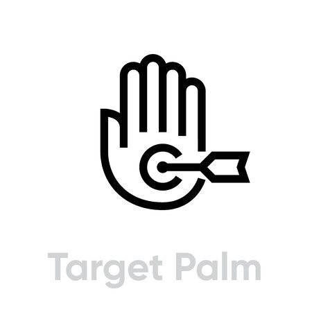 Target Palm icon. Editable line vector.