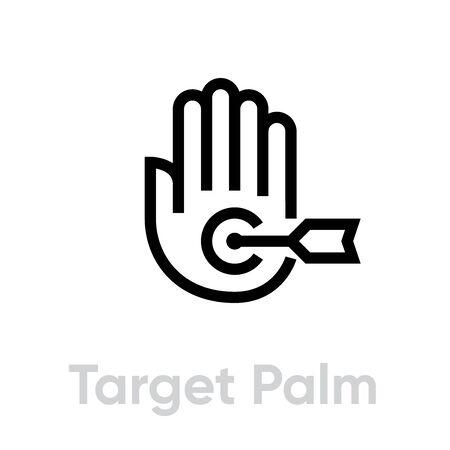 Target Palm icon. Editable line vector.