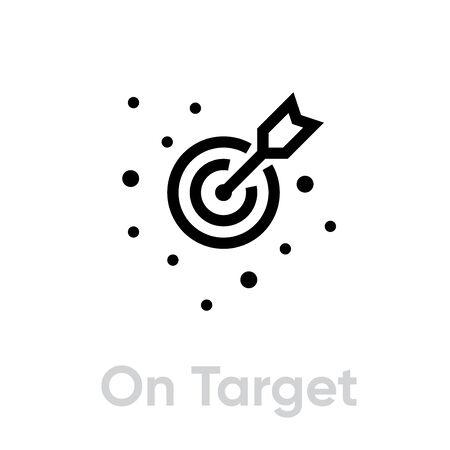 On Target icon. Editable line vector.