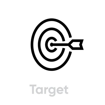 Target icon. Editable line vector. A round goal element in the center with an arrow half view. Single pictogram.