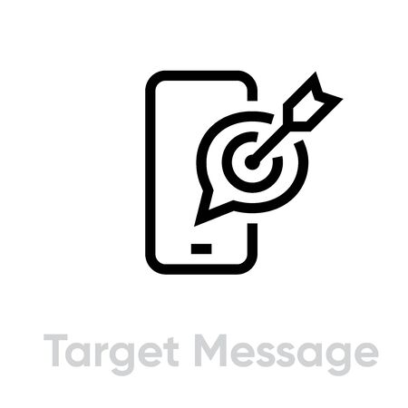 Target Message Personal Targeting icon. Editable line vector.
