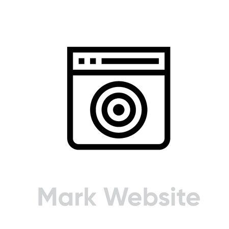 Mark Website Personal Targeting icon. Editable line vector. Иллюстрация