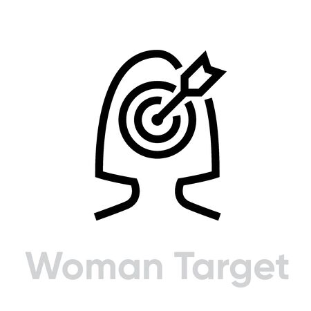 Woman Target Personal Targeting icon. Editable line vector.
