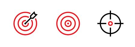 Set of Goal, Target and Aim icons. Editable line vector. A round symbol of red color, with an arrow in the center and in the form of a gun sight. Group pictogram.
