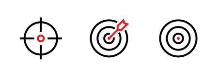 Set of Aim, Target and Goal icons. Editable line vector. Vectores