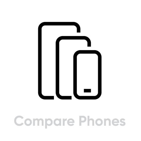 Compare Phones Multi-Cameras icon. Editable line vector. Sign of three modern smartphones of different sizes, large, medium, small. Single pictogram.
