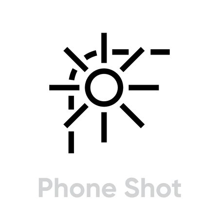 Phone Shot Camera icon. Editable line vector. Close-up of smartphone and sun sign with rays, flash. Single pictogram.