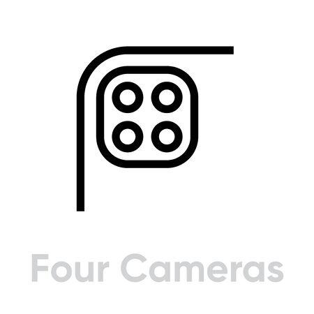 Four Cameras Phone Multi-Cameras icon. Editable line vector.
