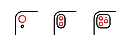 Set of Single, Two and Three Lenses Phone Camera icons. Editable line vector. Element module with a different number of lenses in the form of a red circle. Group pictogram.