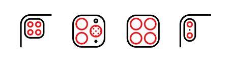 Set of Four, Two Cameras and Scanner, Four, Dual Phone Multi-Cameras icons. Editable line vector. Ilustração