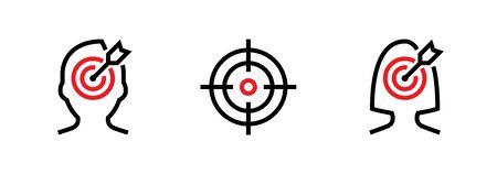 Set of Man Goal, Aim and Woman Purpose Personal Targeting icons. Editable line vector. Sign is a human head, round sniper scope, female head with a goal in the center with an arrow. Group pictogram.