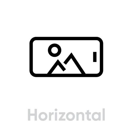 Horizontal Photo on Phone Camera icon. Editable line vector. The element is a modern gadget and on the screen saver picture, landscape orientation. Single pictogram. Иллюстрация