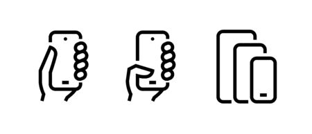 Set of Take, Push on Phone, Compare Phones Multi-Cameras icons. Editable line vector. Sign palm man holds the phone, presses the button and the different sizes of the gadget. Group pictogram. Ilustração