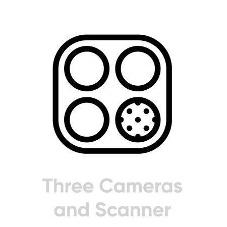 Tree Cameras and Scanner Phone Multi-Cameras icon. Editable line vector.