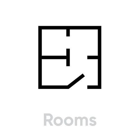 Rooms scheme icon. Editable Vector Stroke.