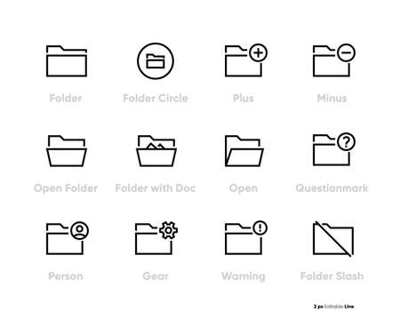 Folders Related line icons set, outline vector symbol