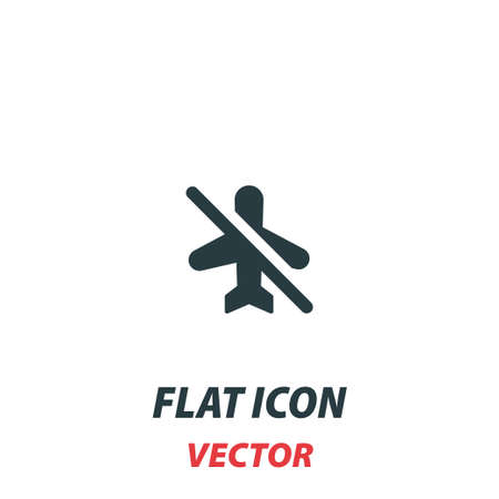 no flying prohibit icon in a flat style. Vector illustration pictogram on white background.
