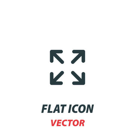 Expand to full screen icon in a flat style. Vector illustration pictogram on white background. Isolated symbol suitable for mobile concept, web apps, infographics, interface and apps design.