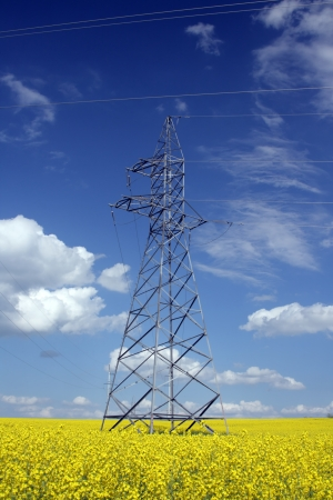 hight voltage line on the blue sky background Stock Photo