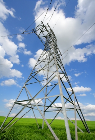 superconductor: hight voltage line on the blue sky background Stock Photo