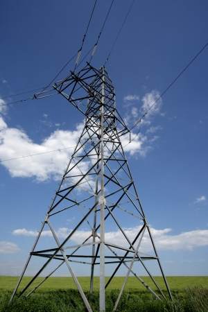 hight voltage line on the blue sky background photo