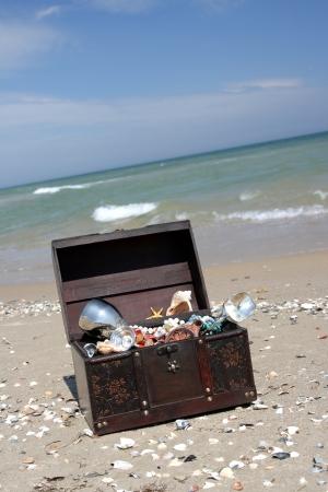 Der verlorene Brust mit Schätzen am Ufer des Meeres Lizenzfreie Bilder
