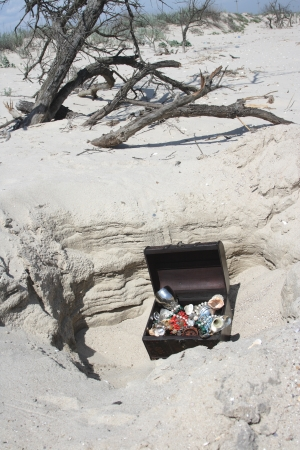 The lost chest with treasures on seacoast  photo