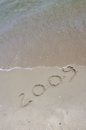 New year 2009 inscription at the tropical beach Stock Photo - 16771439